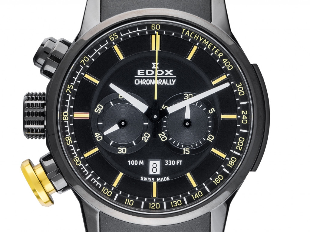 Edox Chronorally Stahl PVD black Quarz Chronograph Armband Kautschuk 45mm Ref.10302 37NJ NOJ3 Box&Pap. Full Set Neu UVP 1.390,-€