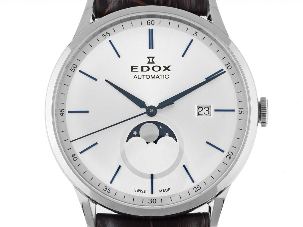 Edox Les Vauberts Mondphase Stahl Automatik Armband Leder 42mm Ref.80500 Box&Pap. Full Set Neu mit Zerifikat  über 1.150,-€