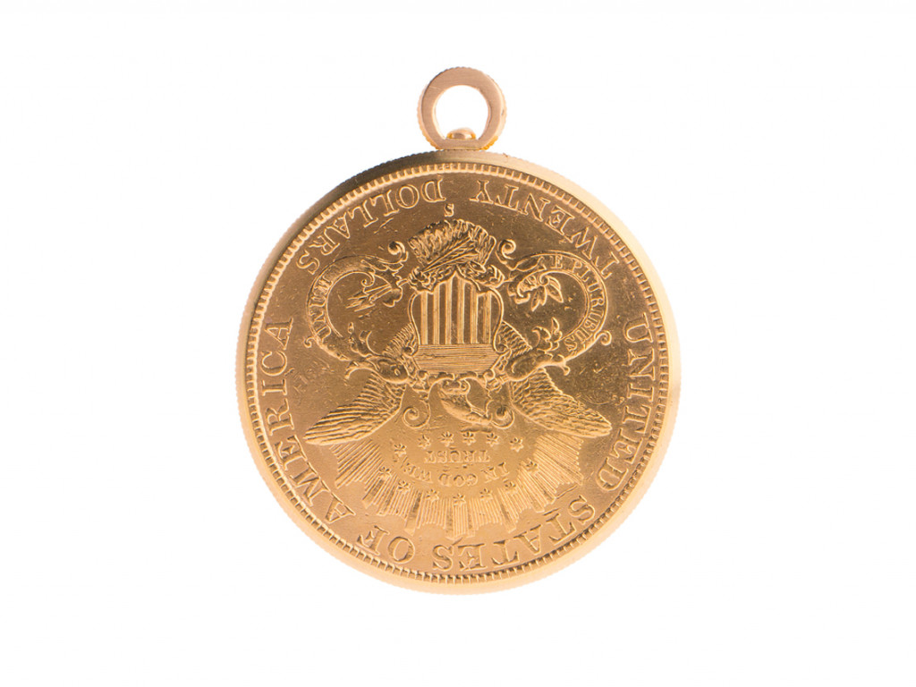 Audemars Piguet Taschenuhr 20 Dollar Münze 18kt Gelbgold Handaufzug